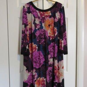 Eliza J 20W Purple Floral Zip Back Shift Dress